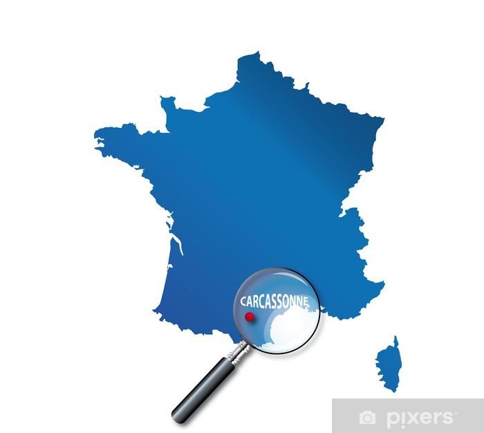 carcassonne carte de france Carcassonne : Localisation sur carte de France   Aude Sticker
