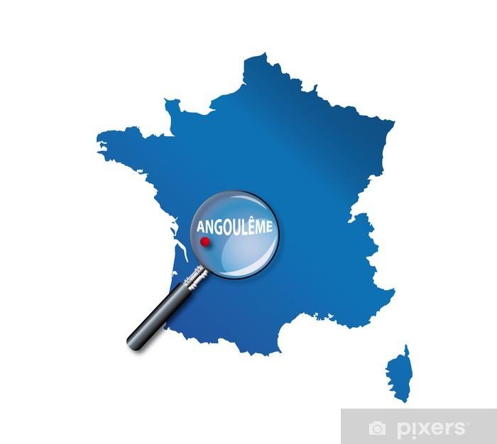 Naklejka Pixerstick Angoulême: Francja mapę - Dział Charente - Europa