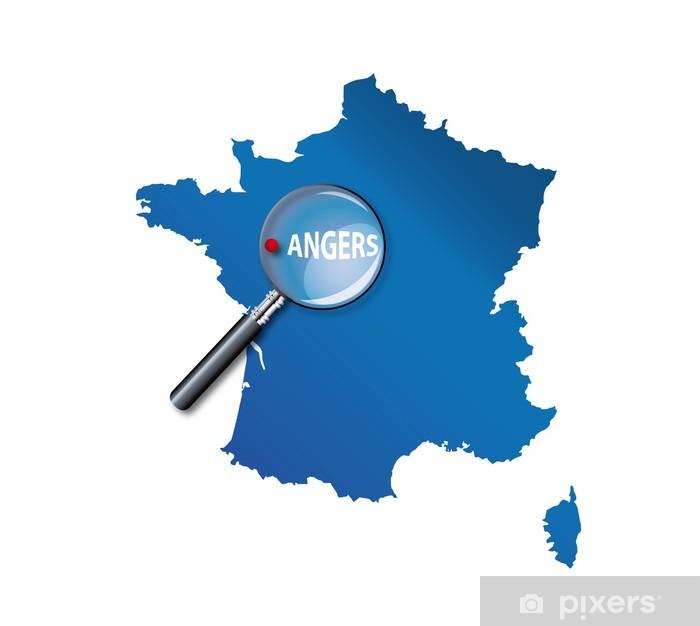 carte de france angers Angers : Carte de France   département Maine et Loire Wall Mural