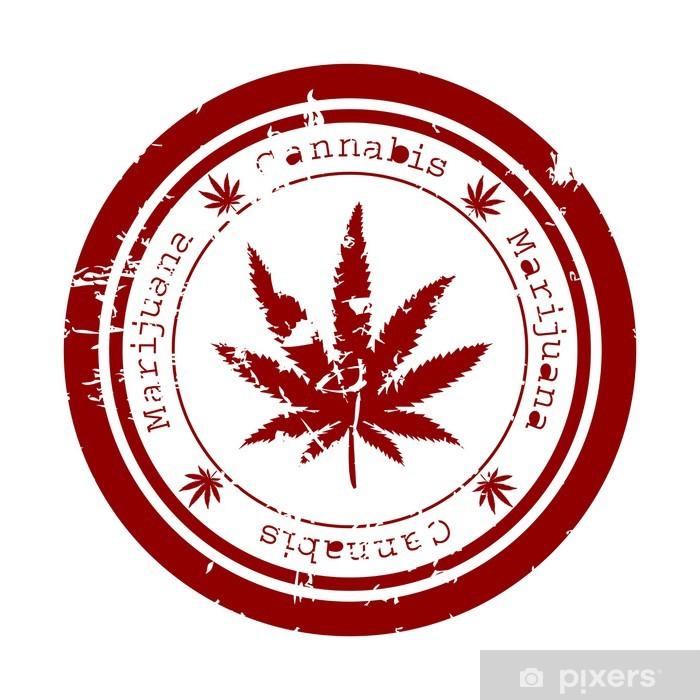 Pixerstick Sticker Rode stempel met marijuana blad - Gezondheid en Geneeskunde