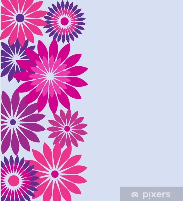 f u00f8dselsdagskort med lyser u00f8de og lilla blomster fototapet