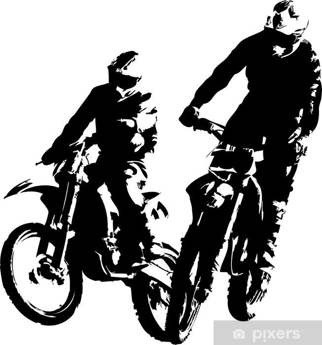Papier peint vinyle Deux coureurs de motocross - Sports individuels