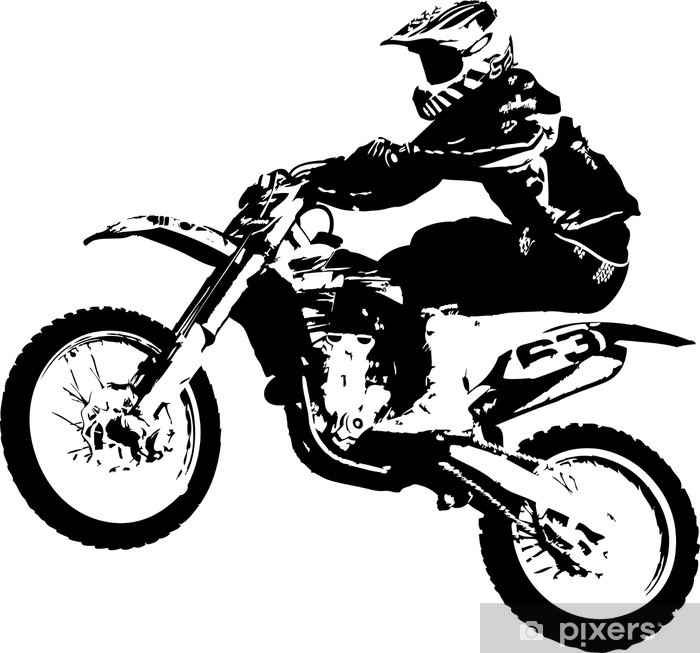 Sticker Pixerstick Motocross cavalier - Sticker mural