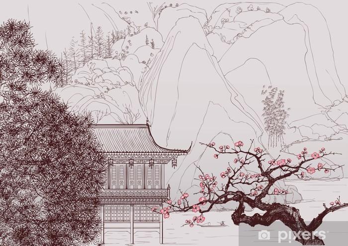 Kiinalainen maisema Pixerstick tarra -