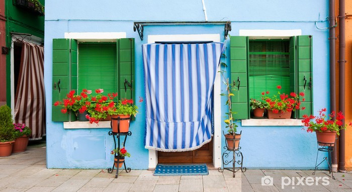 Fotomural Estándar Coloridas casas de Burano, Venecia, Italia - Ciudades europeas
