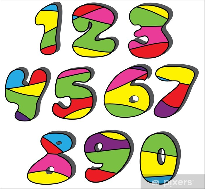 Carta Da Parati Numeri Dei Cartoni Animati Colorati Insieme Pixers
