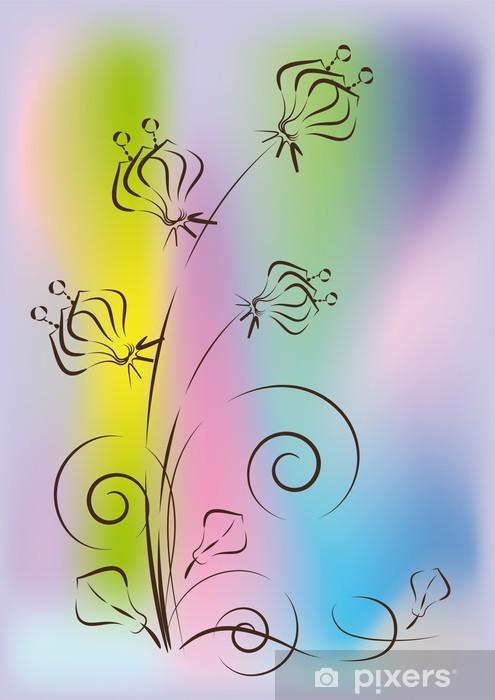 Vinilo Pixerstick Dibujo De Flores Sobre Un Fondo De Color Abstracta
