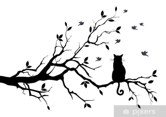 Zelfklevend Fotobehang Kat op een boom met vogels, vector - Wetenschap en natuur
