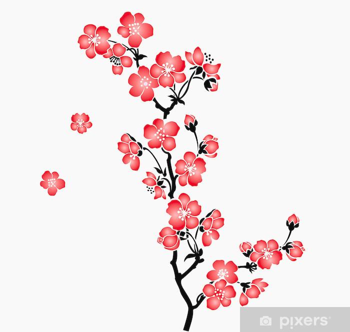 A branch of blooming cherry tree Sakura Pixerstick Sticker - Styles