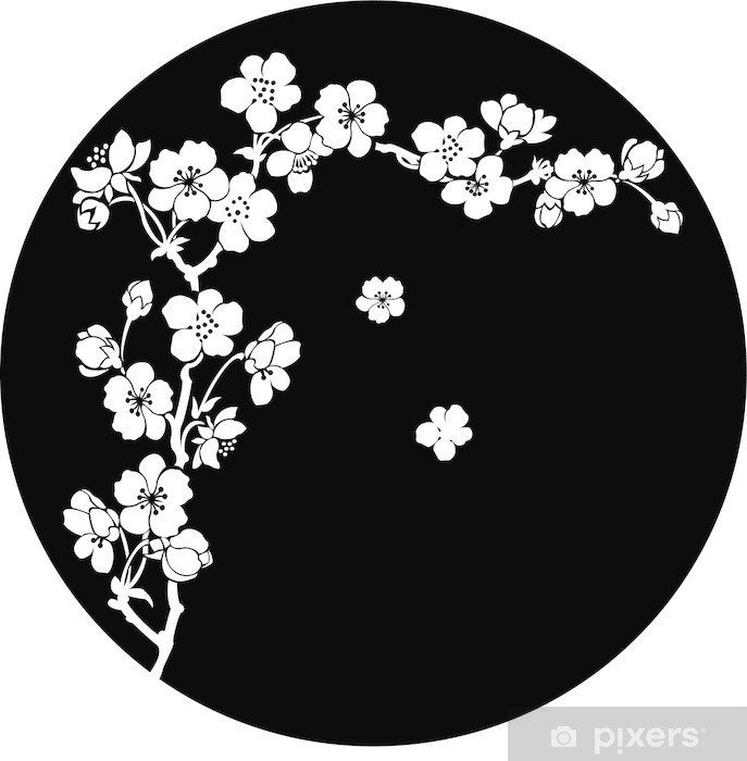 Blooming cherry in ink Vinyl Wall Mural - Styles