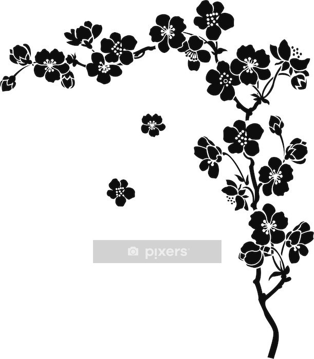 Blooming cherry Sakura branch in ink Wall Decal - Styles