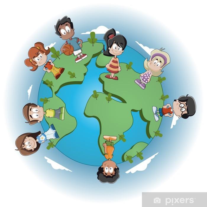Vinilo Lindos Niños Felices De Dibujos Animados Sobre El Planeta Tierra Pixerstick