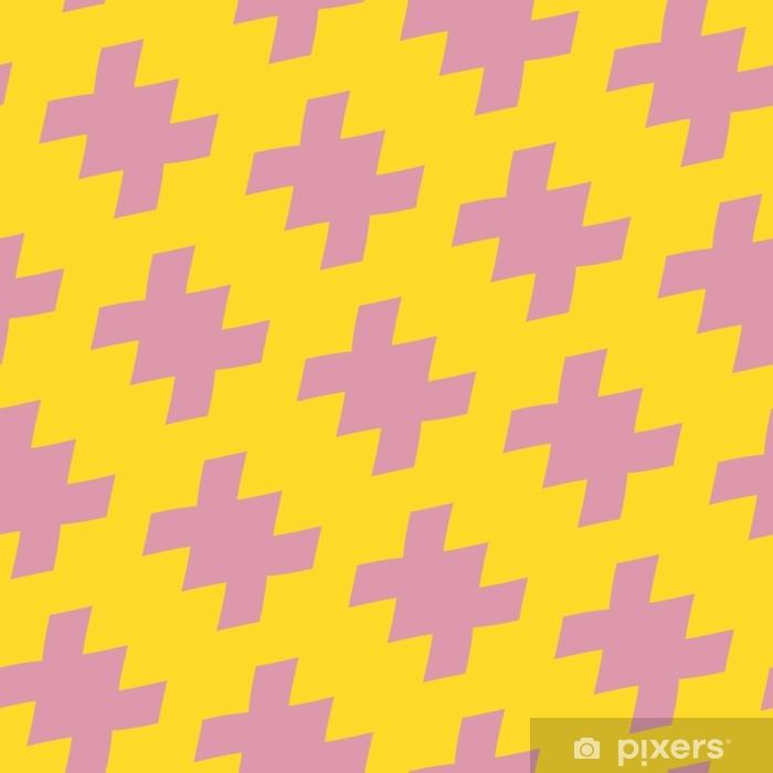 Vektori geometrinen kirkas värikäs saumaton malli perinteiseen tyyliin. keltainen ja vaaleanpunainen väri. abstrakti koristekuvio, jossa on vinossa hajallaan olevat muodot. toista taustaa 1980- 1990-luvun muotityylillä Vinyyli valokuvatapetti - Graafiset Resurssit