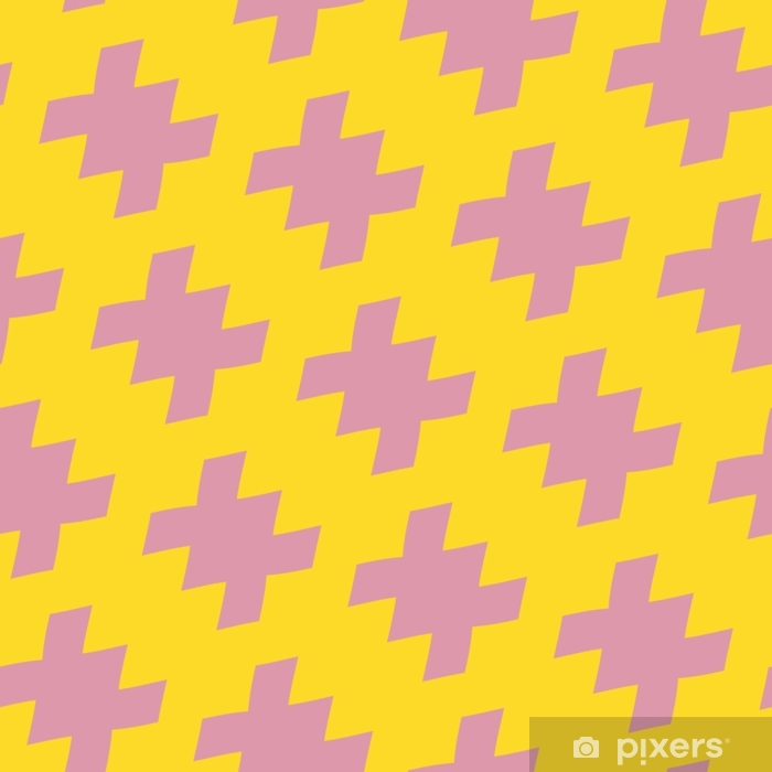 Vector geometric bright colorful seamless pattern in traditional style. Yellow and pink color. Abstract ornament texture with diagonal scattered shapes. Repeat background in 1980s-1990s fashion style Vinyl Wall Mural - Graphic Resources