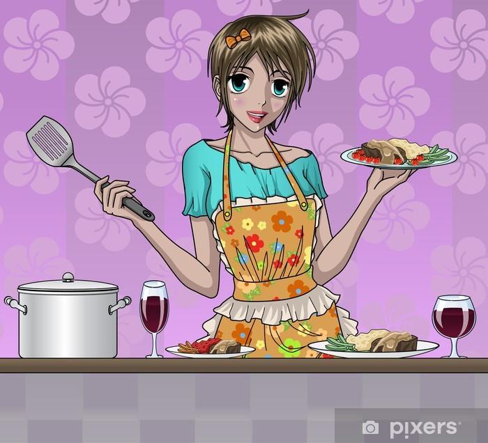 Sticker Pixerstick Pretty Girl cuisine délicieuse nourriture dans la cuisine - Thèmes