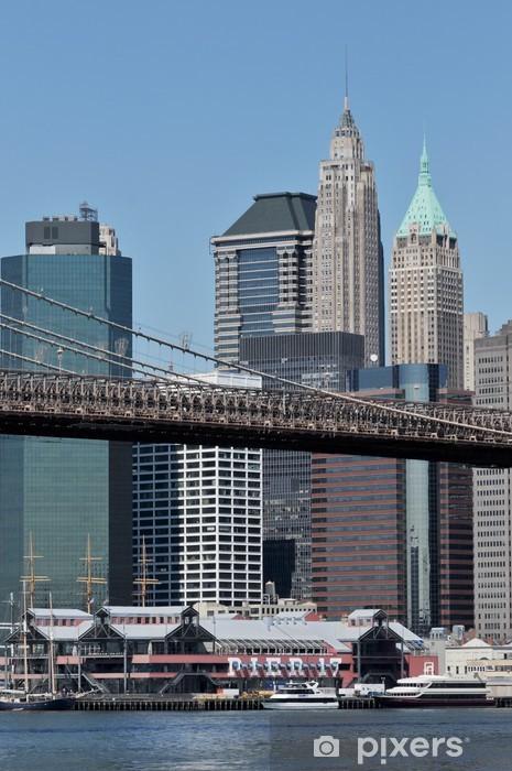 Papier peint vinyle Lower Manhattan et le pont de Brooklyn. - Villes américaines