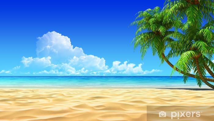 Fototapeta winylowa Dłonie na pustej idyllicznej plaży tropikalnej piasku - Palmy