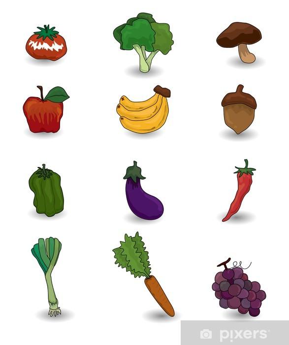 Vinilo Frutas Verduras Y Juego De Dibujos Animados Icono Pixerstick