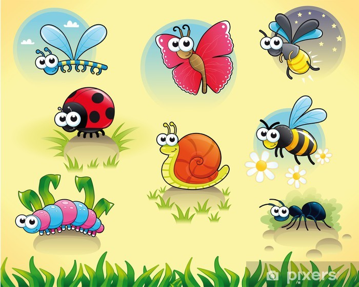 Bugs + 1 snail. Funny cartoon and vector isolated characters. Vinyl Wall Mural - Preschooler
