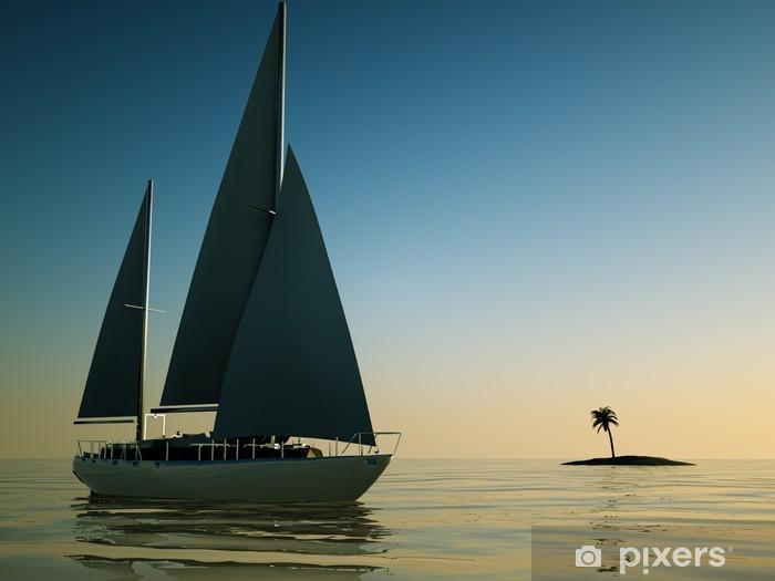 Naklejka Pixerstick Wyspa wieczornym półmroku żaglówka - Transport wodny