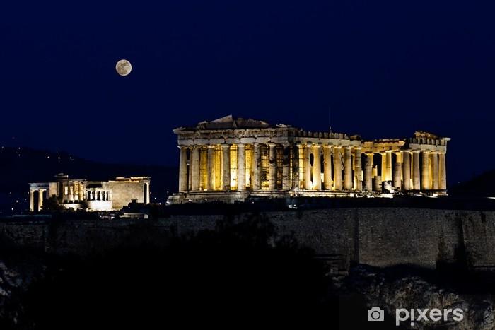 Fotomural Estándar Acrópolis (Partenón), por la noche, bajo la luna llena, Atenas, Grecia - Temas