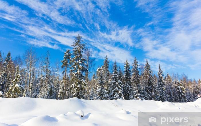 Naklejka Pixerstick Bright Pejzaż zimowy z dużo śniegu - Pory roku