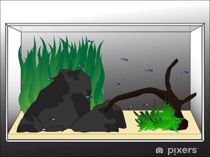 Naklejka Pixerstick Adorable aquascape - Zwierzęta żyjące pod wodą
