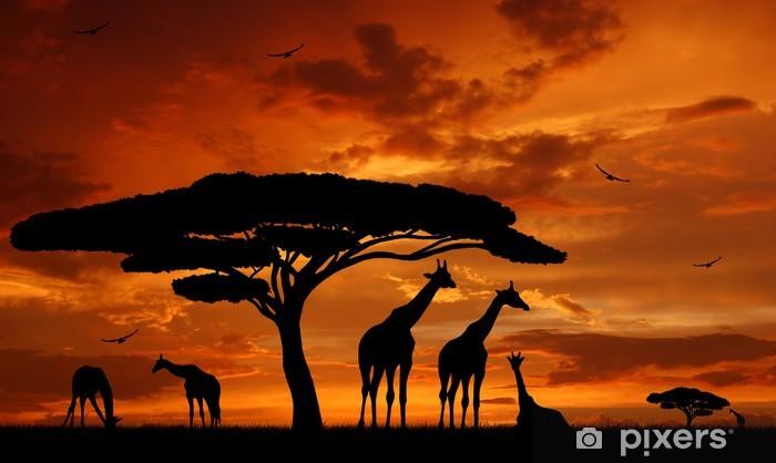 Vinilo Pixerstick Manada de jirafas en la puesta del sol -