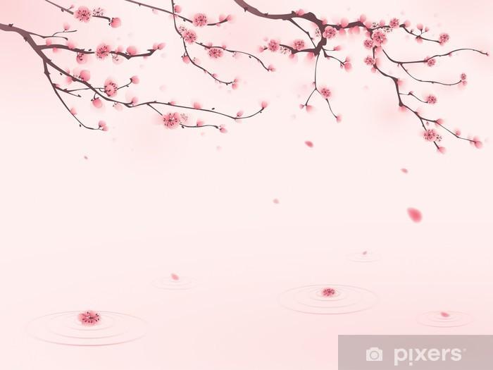 Oryantal Tarzı Boyama Ilkbaharda Kiraz çiçeği çıkartması Pixerstick