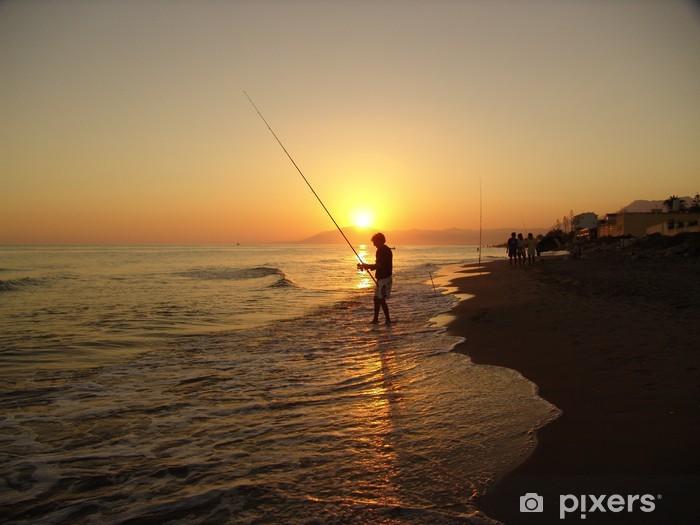 Sticker Pixerstick Sonnenuntergang mit pêcheur - Europe