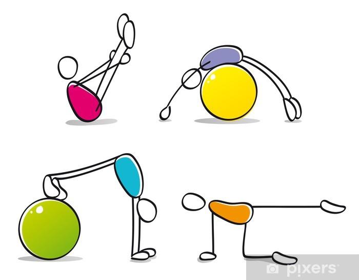 Naklejka Pixerstick Śmieszne osoby wykonujące pilates - Sporty indywidualne