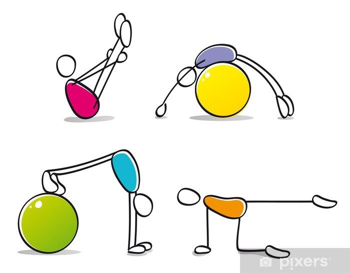 funny persons practicing pilates Pixerstick Sticker - Individual Sports