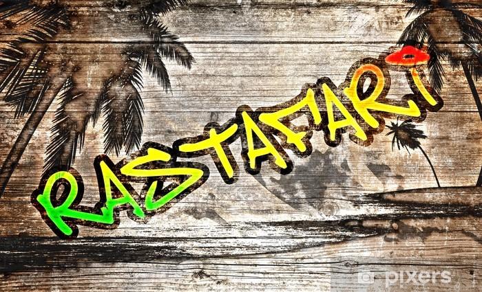 Pixerstick Sticker Rastafari grafiet auf alten Holzbrett - Kunst en Creatie