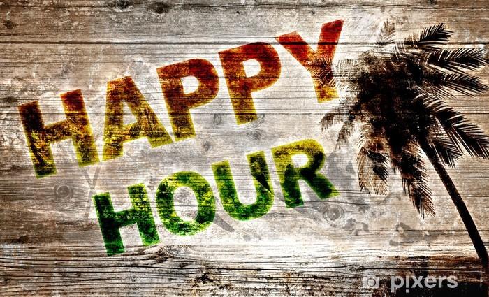 Fototapeta winylowa Holzbrett - Happy Hour - Znaki i symbole