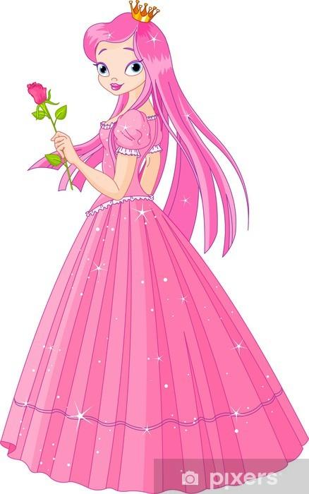 Fototapeta winylowa Piękny różowy księżniczka z różą - Naklejki na ścianę