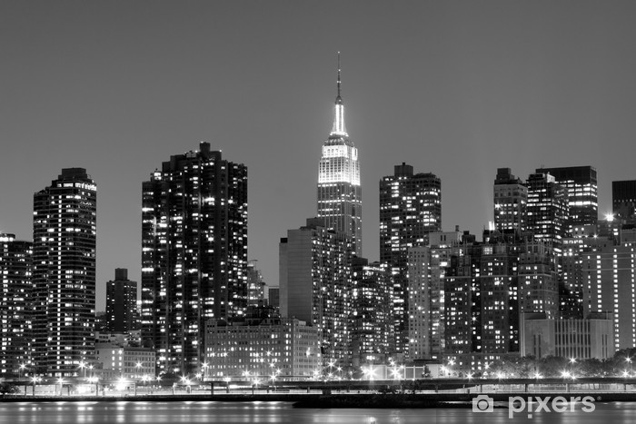 Sticker Pixerstick New York à Night Lights, Midtown Manhattan -