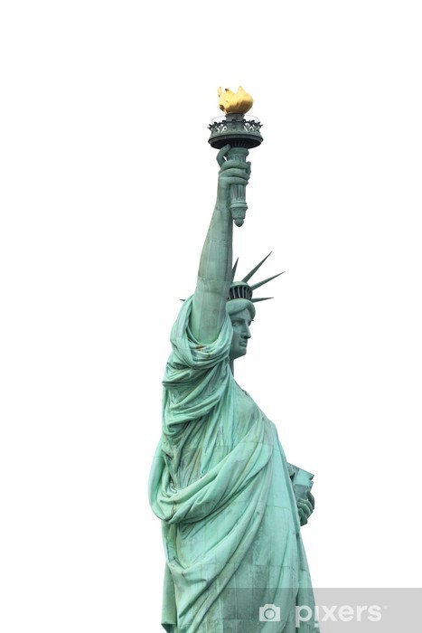 Carta da Parati in Vinile La Statua della Libertà isolato su bianco, New York City - Adesivo da parete