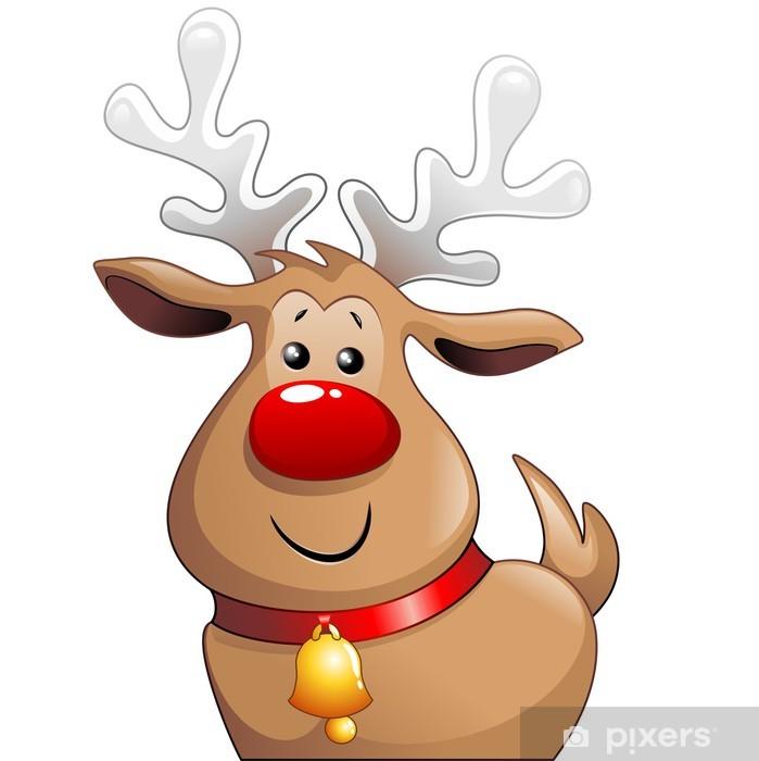 Cute Christmas.Renna Babbo Natale Cartoon Cute Christmas Reindeer Vector Wall Mural Vinyl