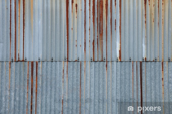 Sticker pour vitres et fenêtres Texture métal, tôle ondulée rouillée - Textures