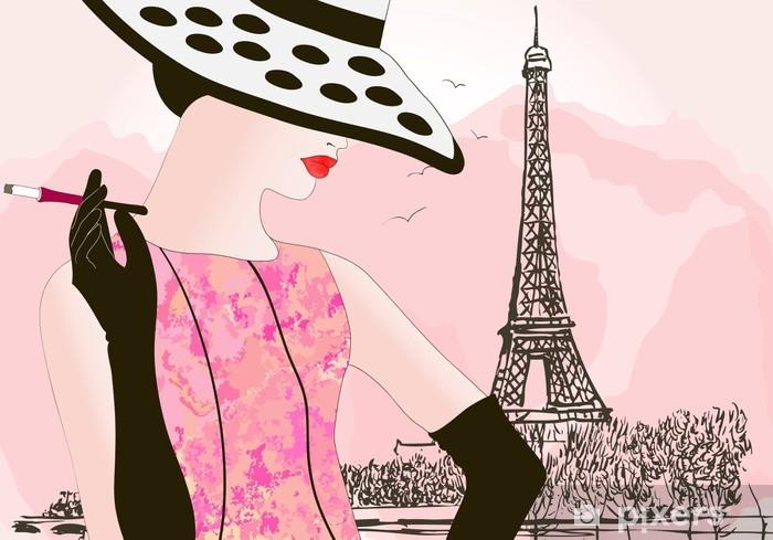 Papier peint vinyle Femme de mode à Paris - Mode