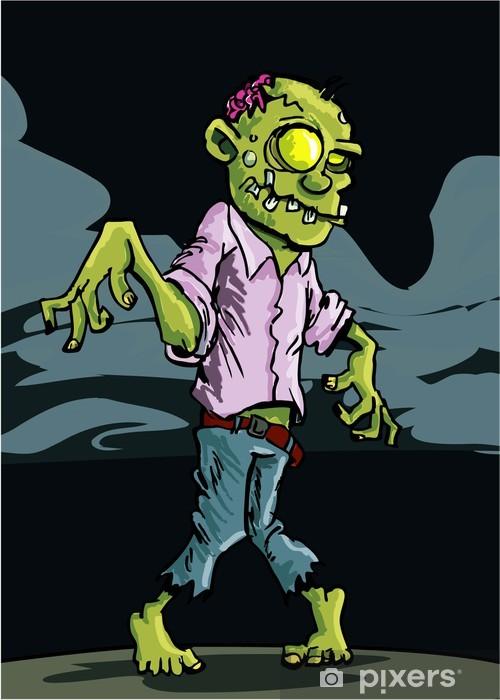 Nálepka Pixerstick Cartoon zombie se zataženou noční oblohu - Témata
