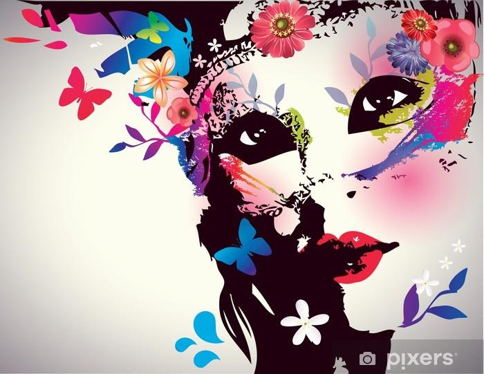 Pige med maske / Vector illustration Selvklæbende fototapet -