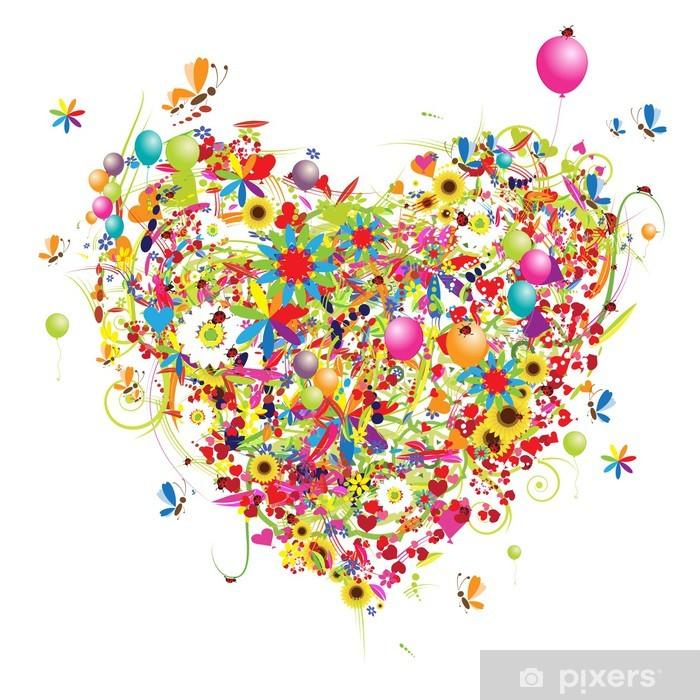 Papier peint vinyle Bonnes vacances, en forme de coeur avec des ballons drôles - Sticker mural