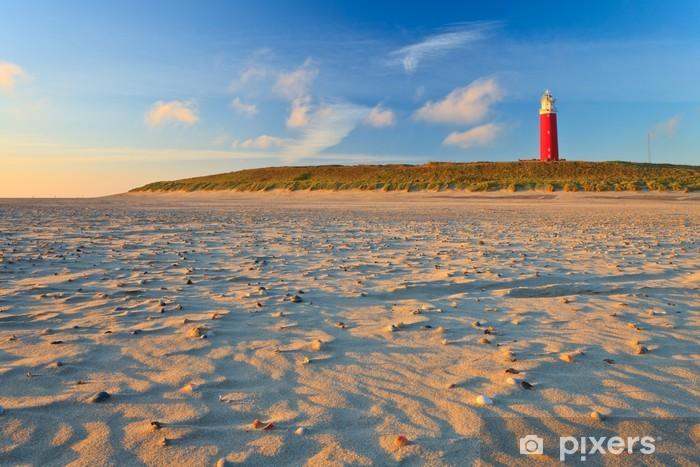 Fotomural Estándar Playa con las dunas de arena y el faro al atardecer - Faro
