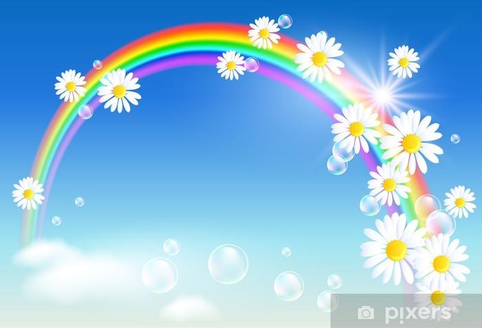 Vinyl Fotobehang Regenboog en bloemen - Regenbogen