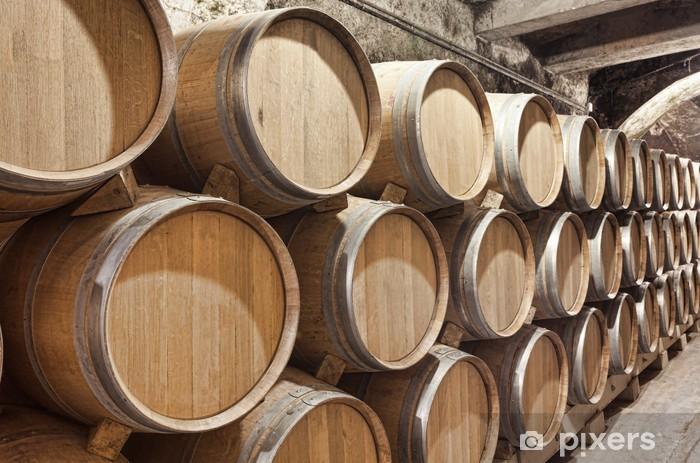 Fototapeta winylowa Beczki wina w starej piwnicy - Alkohol