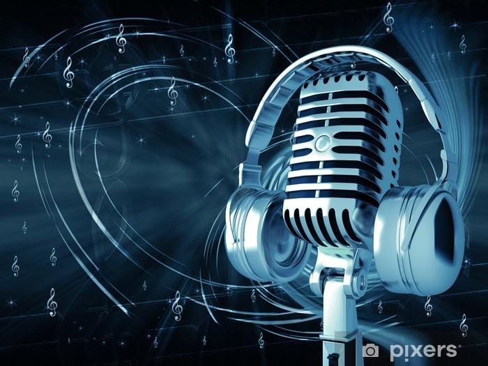 Vinilo Pixerstick Micrófono con auriculares en el fondo musical - Hip Hop