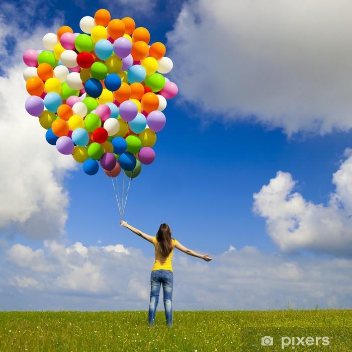 Vinilo Pixerstick Chica con globos de colores - Estaciones
