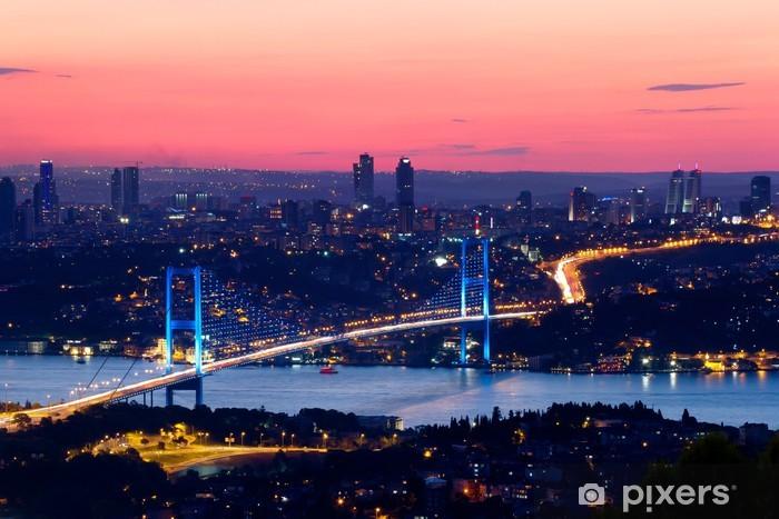 Papier peint vinyle Istanbul Bosphore pont au coucher du soleil - iStaging
