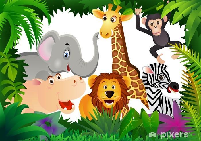 Fotomural Estándar Animales de la selva - Para chica